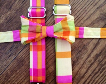 Pink orange yellow green plaid print Suspenders and Bow tie/Boy/Toddler/Child/Great for Ring Bearers - Weddings/easter outfit/spring picture