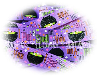 "3 Yards - 7/8"" Halloween I Put a Spell On You Glitter Witch Couldron on Purple High Quality Grosgrain Ribbon USDR - Halloween Hair Bow"