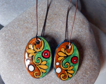 Ceramic Earrings, Ceramic Jewelry/Handcrafted/hand painted Earrings