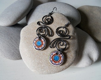 Ceramic Jewelry ceramic and copper earrings Treaty