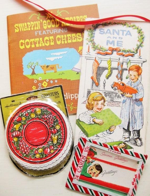 Santa and Me - Holiday Hostess Gift pack. Vintage ephemera. Christmas tags. Christmas card. American Dairy recipes. Christmas coasters.