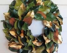 Everlasting Green & Gold Magnolia Leaf Wreath-Custom Order -Year Round Wreath, Fall Wreath, Centerpiece, Candle Ring, Front Door Wreath