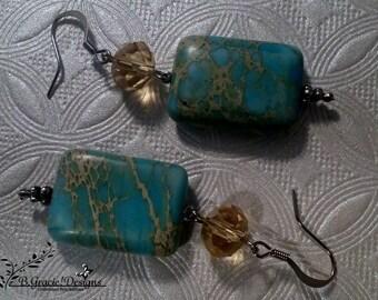 Aqua and Tan Beaded Earrings No.110