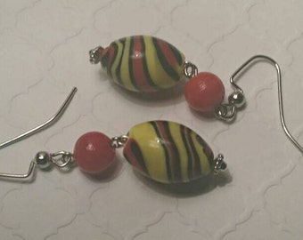 Black, Red and Yellow Swirl Earrings No. 291