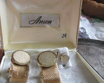 New Old Stock ANSON Cuff Links and Tie Pin Original Box 1960's Gold Plating Signed Groomsmen Gift Father's Day Best Man Christmas
