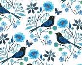 Organic Cotton -Moody Blues - Birds & Butterflies - Cloud 9 Fabrics - 1 yd