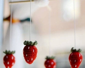 Crochet baby mobile strawberry