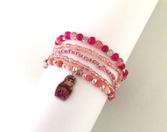 Russian doll bracelet, pink beaded multi strand bracelet
