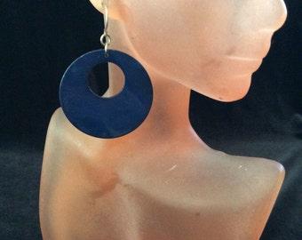 Vintage Navy Blue Dangling Shell Earrings