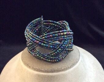 Vintage Chunky Irridesent Glass Beaded Braided Wrap Bracelet