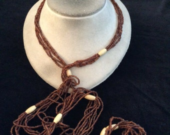 Vintage Long Multi Stranded Brown Glass Beaded Necklace