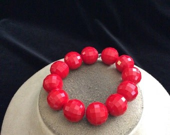 Vintage Chunky Red Beaded Bracelet
