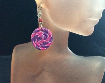 Vintage Pink & Purple Swirl Dangle Earrings