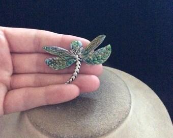 Vintage Signed Sylvia B Colorful Dragon Fly Pin