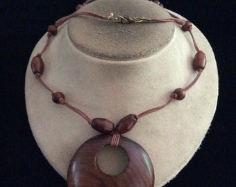 Vintage Long Brown Wooden Necklace