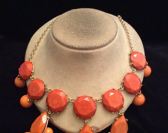 Vintage Long Chunky Orange Beaded Necklace