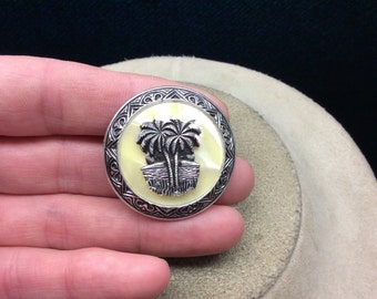Vintage Mother Of Pearl Palm Tree Pin