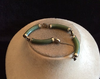 Vintage Green Glass Panel Bracelet With Security Chain