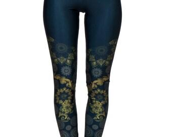 Henna Leggings Black with Gold Details, Yoga Leggings