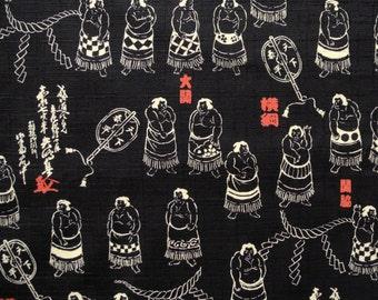 Black Japanese Yokozuna Sumo Wrestler Dobby Cotton Fabric Per 50cm - TG39
