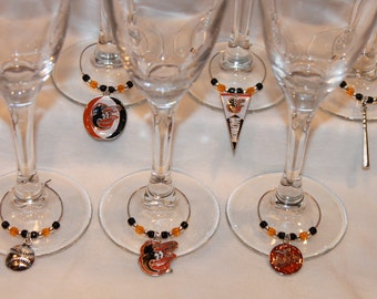 Baltimore Orioles Wine Charms Set of 6 Baseball Charms Orioles Charms