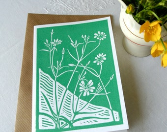 Handprinted wildflower greetings card