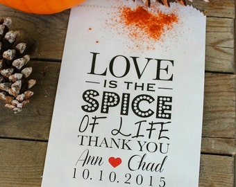 Wedding Candy Bag- Love is the Spice of Life/Candy Buffet/ Treat Table