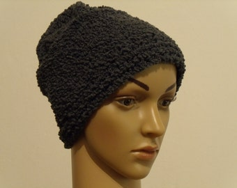 Knit Beanie with a medium gray Boucle yarn