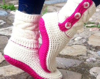 Knit Slippers, Women's Slippers, Knit Slipper Booties, Warm Knit Socks, Christmas Gift, TheThriftyWolf, Pink Slippers