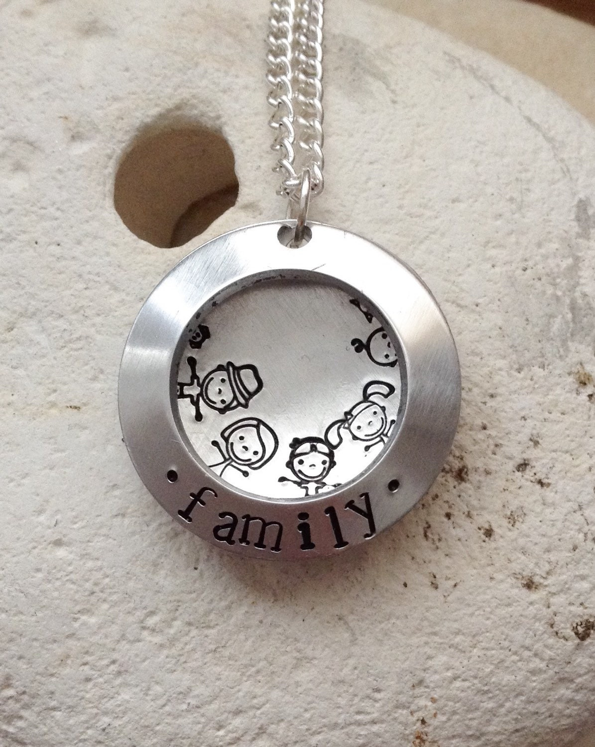 Family necklace - open clamshell locket - mum dad daughter son baby dog cat - you choose characters. Gifts for her - 25mm diameter