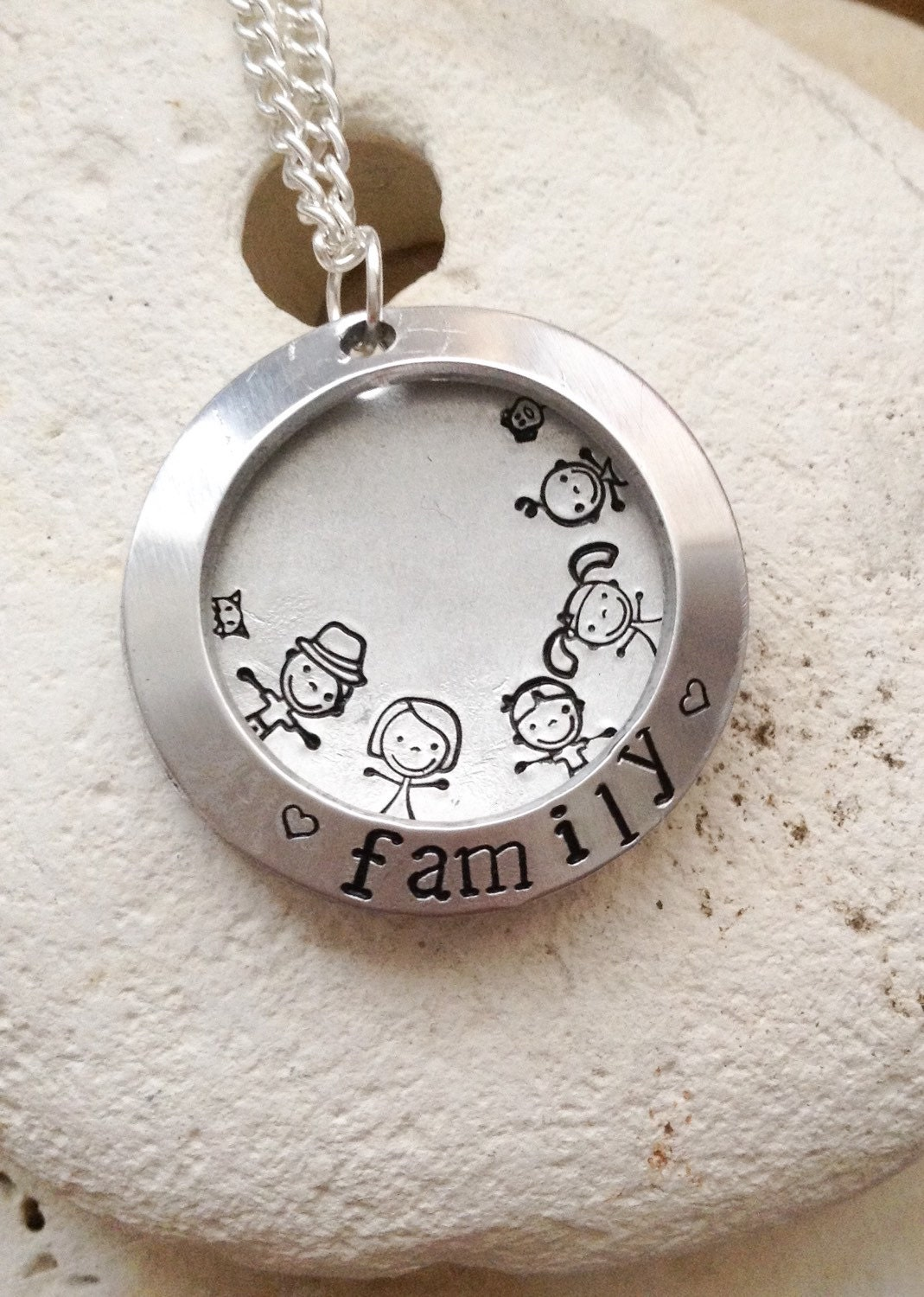 Large Family necklace - open clamshell locket - mum dad daughter son baby dog cat - you choose characters. Gifts for her - 28mm diameter