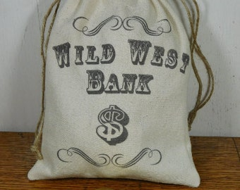 Wild West Bank Bag and Wooden Coins, Western Money Sack, Pretend Cowboy Dramatic Play, Photo Props, Birthday Party Loot Bags, Personalize it