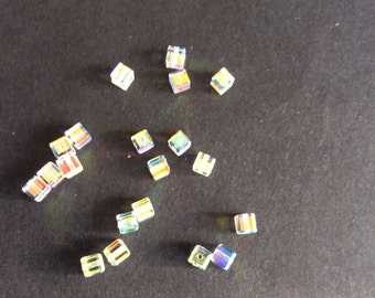 Supplies, Swarovski Crystal Cube Beads, Ab, 4mm, style no 5601, pack of 20