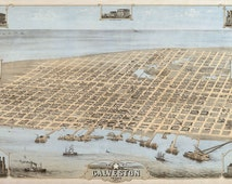 """Galveston, Texas in 1871 - Town, Aerial View """"Bird's Eye View""""- Beautiful Print=(Antique,Vintage,Old) =Map is Perfect for Framing!"""