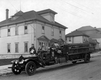 Seattle Washington's Fremont Fire Truck, Fire Station Early 1900s--Photo Print
