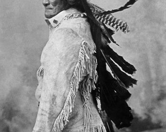 Geronimo in 1885, and child Old Photo Print