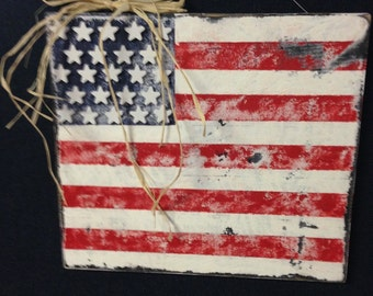 Vintage/rustic American flag wall hanging