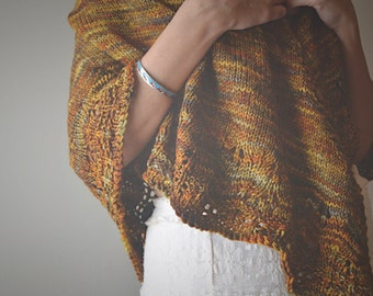 Amelie Shawl in glitter - Large size , knit wrap , lace edge, yellow and brown shades, spring, fall