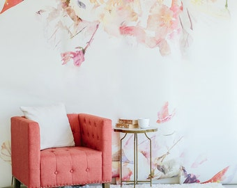 Spring Floral - Large Wall Mural, Watercolor Wallpaper