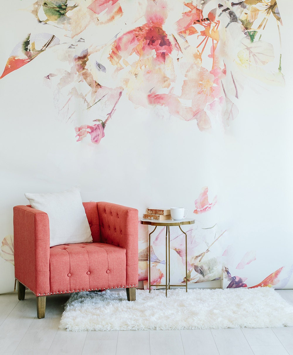 Spring floral large wall mural watercolor wallpaper for Designer wallpaper mural