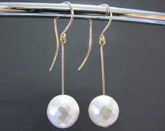 Long Faceted Mother of Pearl Earrings