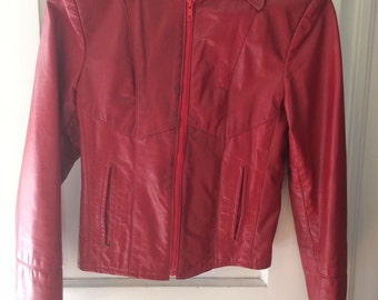 ON SALE - Vintage 70's/80's Red Leather Jacket Coat - XS/S