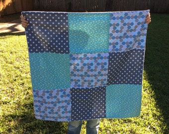 Sale Blue handmade fleece patchwork baby blanket - perfect gift for baby shower-