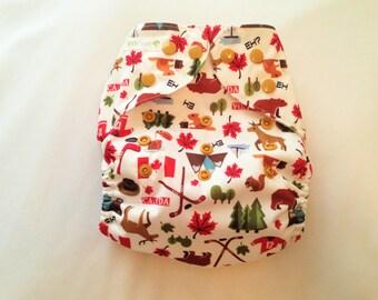 "Cloth Pocket Diaper (One Size) ""Canada, Eh?"""