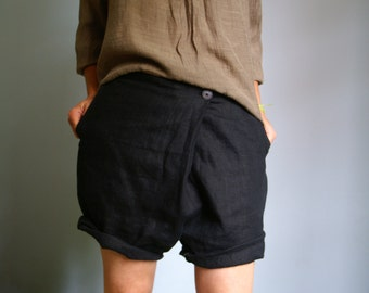 Handmade Linen Shorts for Women Elegant Relaxed Boho sizes 36-50 size