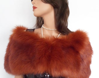 faux fox fur stole, shoulder wrap, shawl, shrug, burnt orange, rust