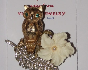 Bird / Owl Theme.  1-of-a-Kind collage brooch &/or pendant made from recycled vintage jewelry.  Rhinestones, faux pearl, flower.  #84g.