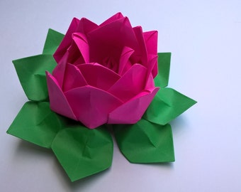 2 Paper Origami Lotus flower, Waterlily-you pick the color