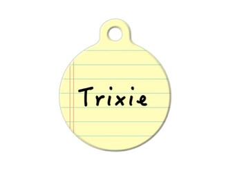 Notepad Yellow Pet ID Name Tag Personalised Custom Dog Cat Name Tag Fun