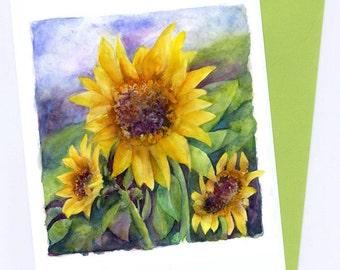 Sunflowers Art Card / Print Art Original Watercolor